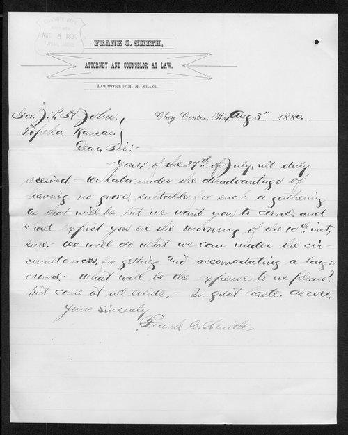 Frank C. Smith to Governor John St. John - Page