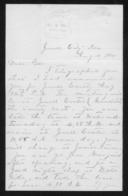 J. H. Lockwood to Governor John St. John - Page
