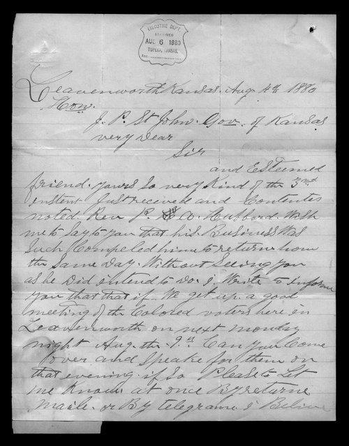 W. D. Matthews to Governor John St. John - Page
