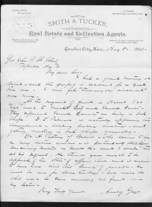 Ansley Gray to Governor John St. John - Page