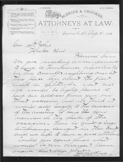 J. C. McBride to Governor John St. John - Page