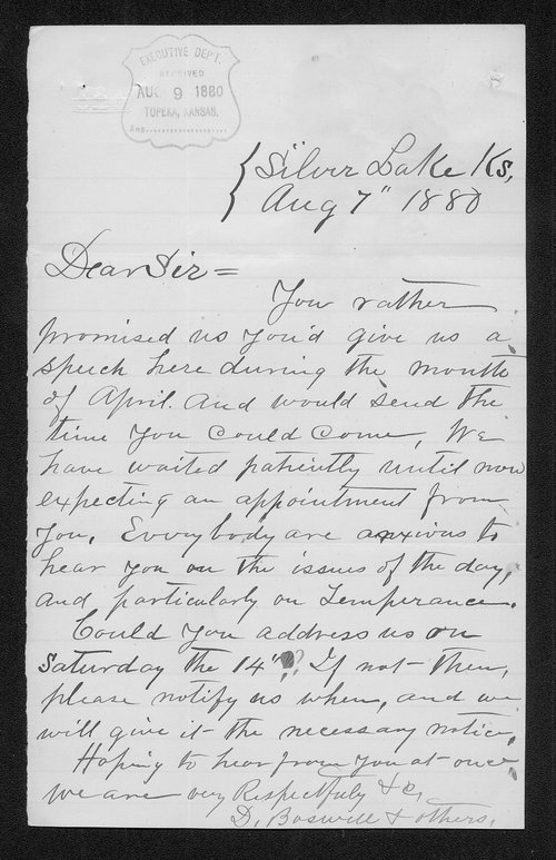 D. Boswell to Governor John St. John - Page