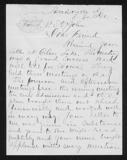 George W. Bain to Governor John St. John - Page