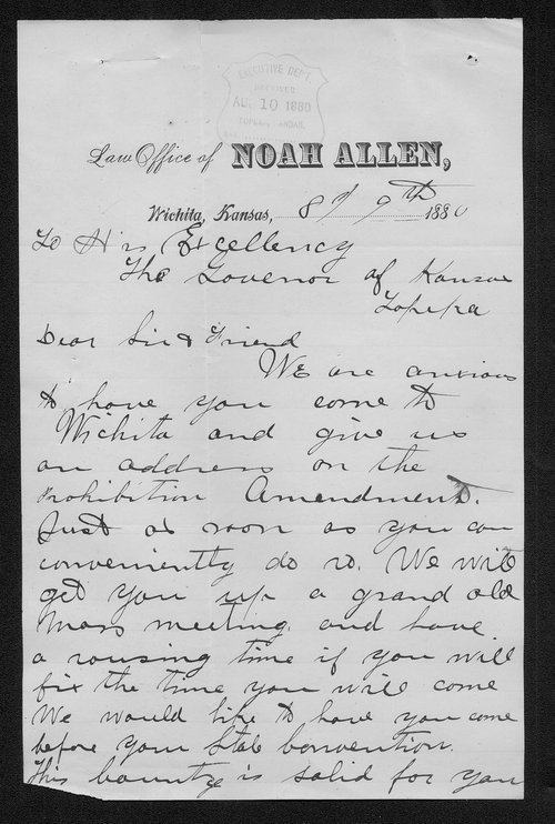 Noah Allen to Governor John St. John - Page