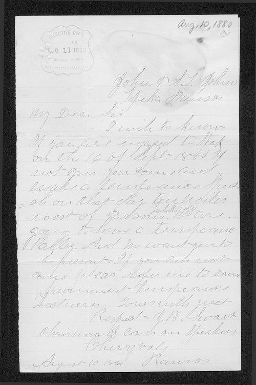 J. B. Swart to Governor John St. John - Page