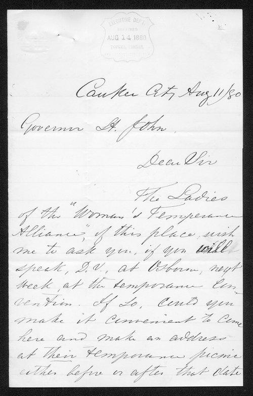 J. Bany to Governor John St. John - Page