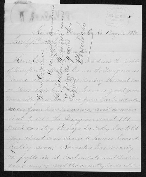 W. C. Howard to Governor John St. John - Page