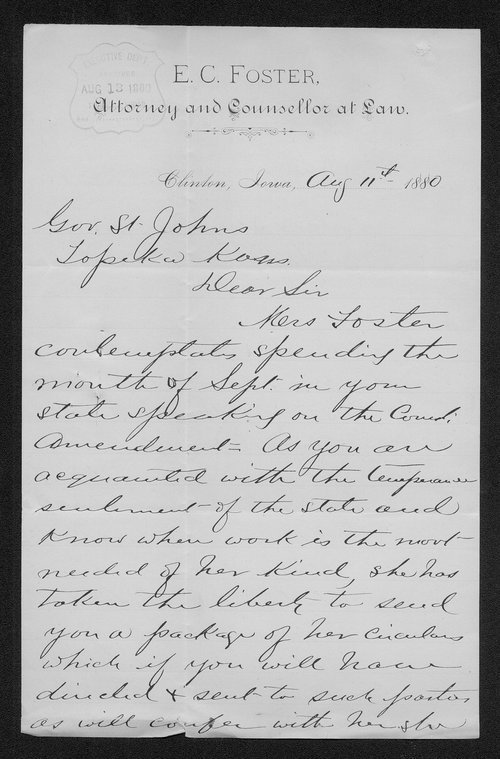 E. C. Foster to Governor John St. John - Page