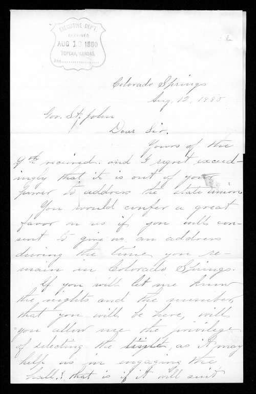 Mary Shields to Governor John St. John - Page