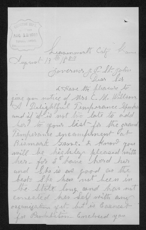 Mrs. L. M. Flack to Governor John St. John - Page