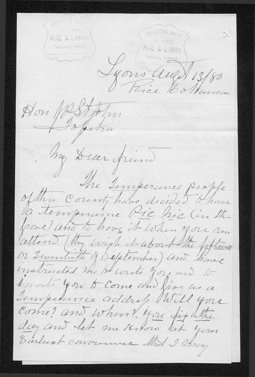 M. J. Morse to Governor John St. John - Page