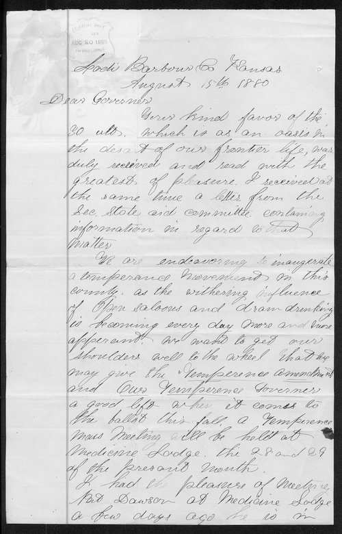 Jonathan McWilliams to Governor John St. John - Page