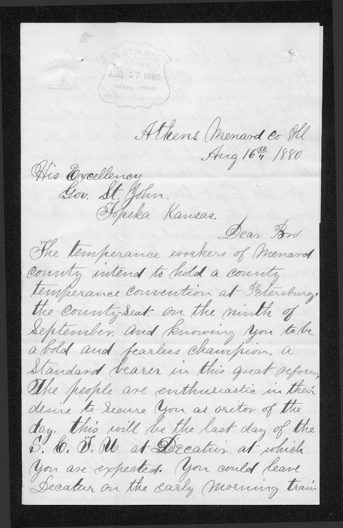 J. W. Eckman to Governor John St. John - Page
