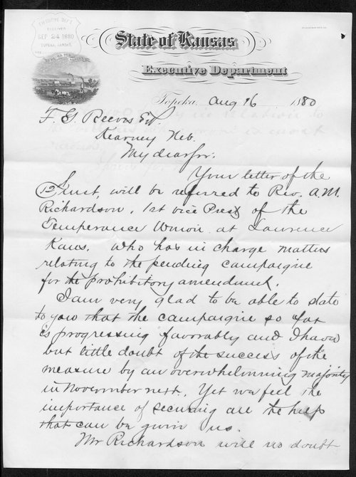 Governor John St. John to F. G. Reeves - Page