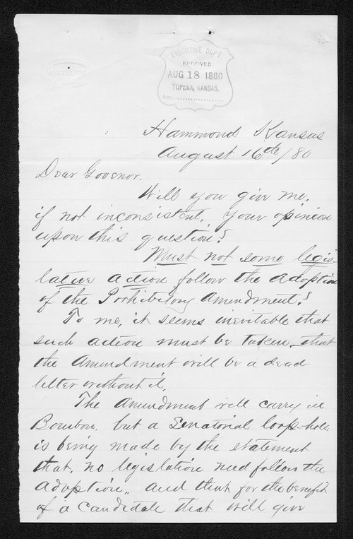 W. W. Campbell to Governor John St. John - Page