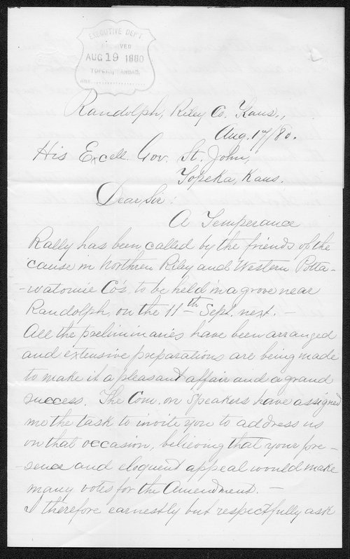 Ed Secrest to Governor John St. John - Page