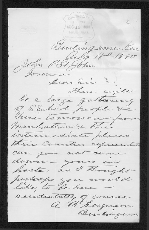 A. B. Ferguson to Governor John St. John - Page