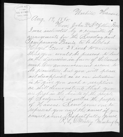 R. L. O'Mealey to Governor John St. John - Page