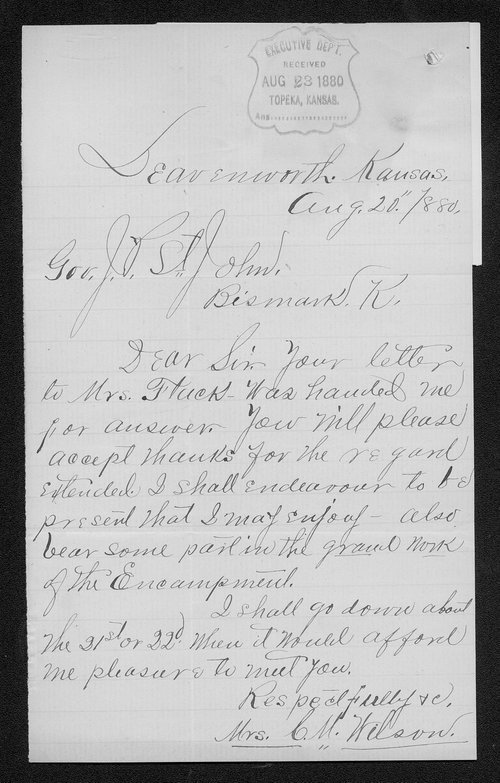 Mrs. C. M. Wilson to Governor John St. John - Page
