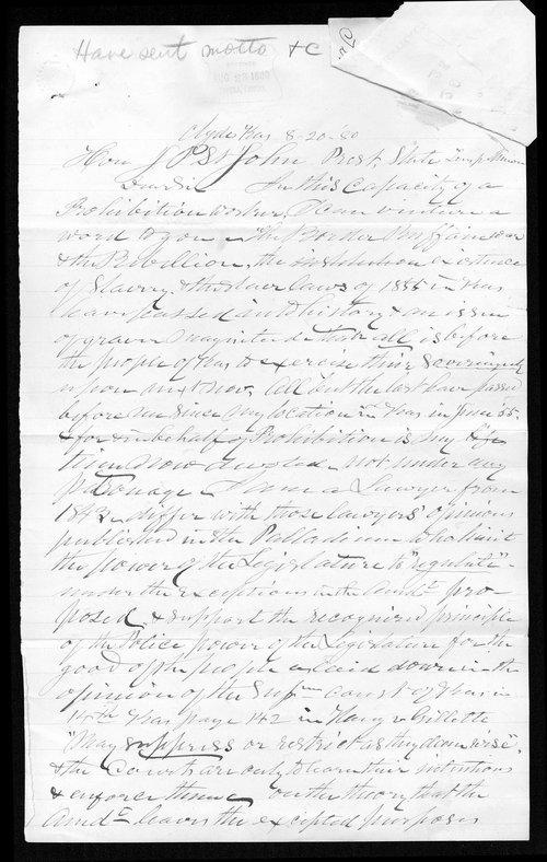 Lorenzo Westover to Governor John St. John - Page
