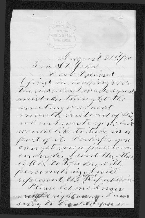 Annie E. Boice to Governor John St. John - Page