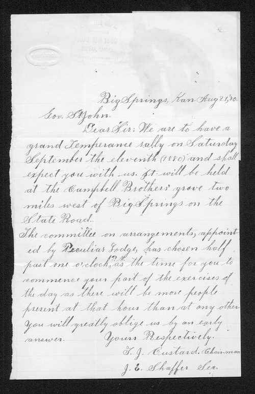 T. J. Custard to Governor John St. John - Page