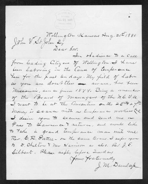 J. M. Dunlap to Governor John St. John - Page