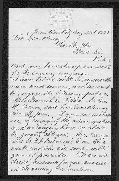 A. Barnes to Governor John St. John - Page
