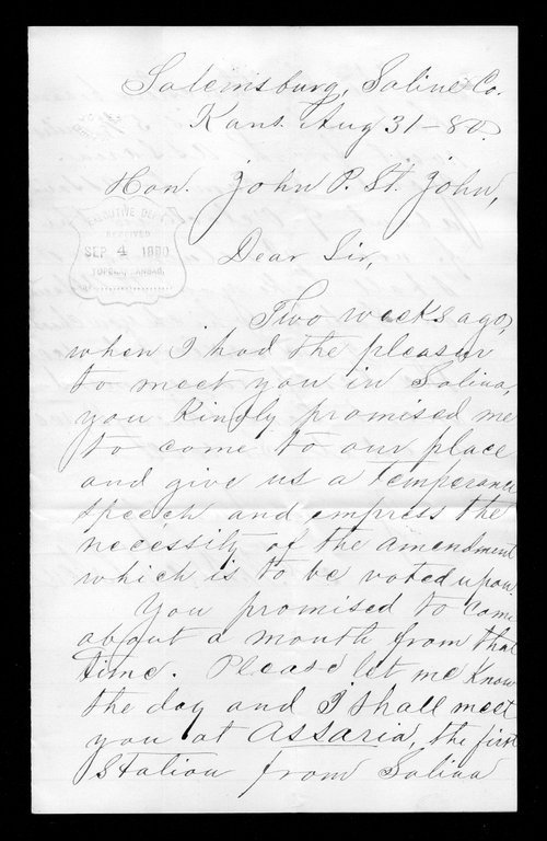 A. W. Dahlston to Governor John St. John - Page