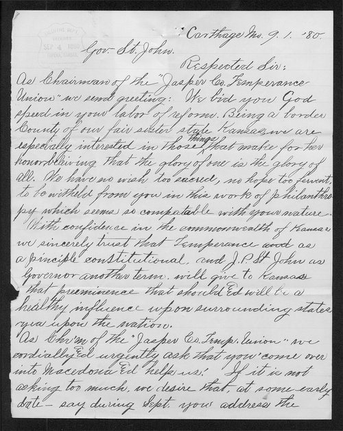 George L. Leaming to Governor John St. John - Page