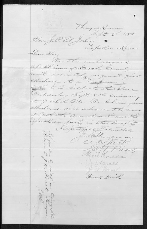 J. M. Dunsmore to Governor John St. John - Page