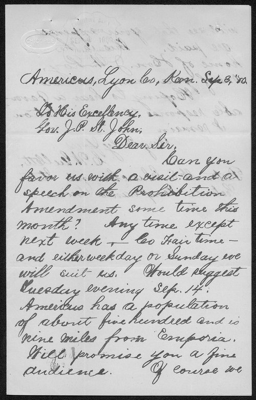 C. W. Gullett to Governor John St. John - Page