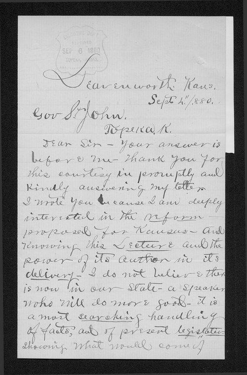 W. J. Alexander to Governor John St. John - Page