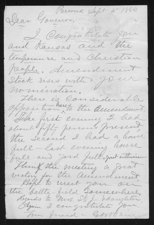 G. W. Bain to Governor John St. John - Page