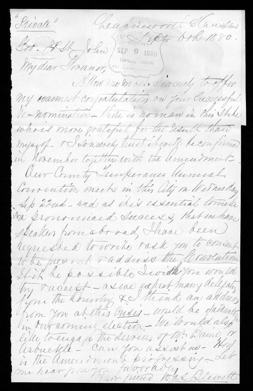 W. A. S. Blewett to Governor John St. John - Page