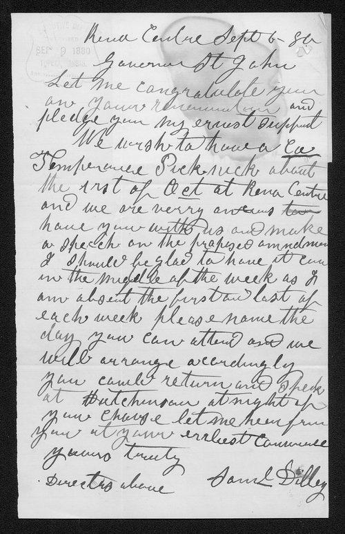 Samuel Dilley to Governor John St. John - Page