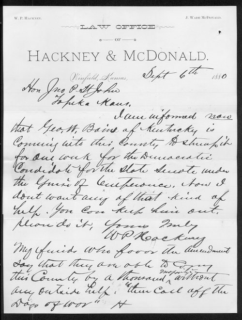 W. P. Hackney to Governor John St. John - Page