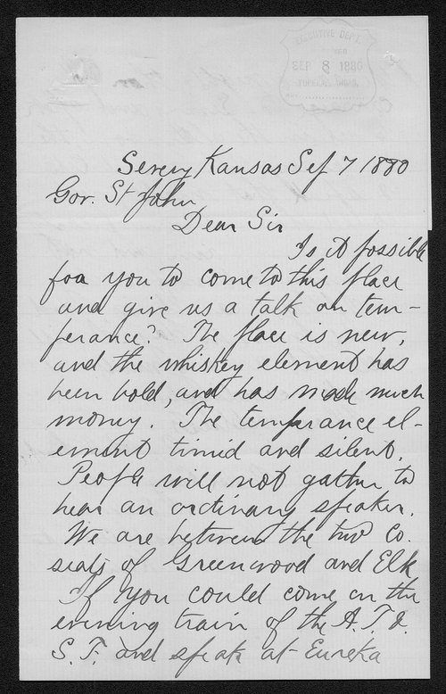 Reverend I. N. Locke to Governor John St. John - Page