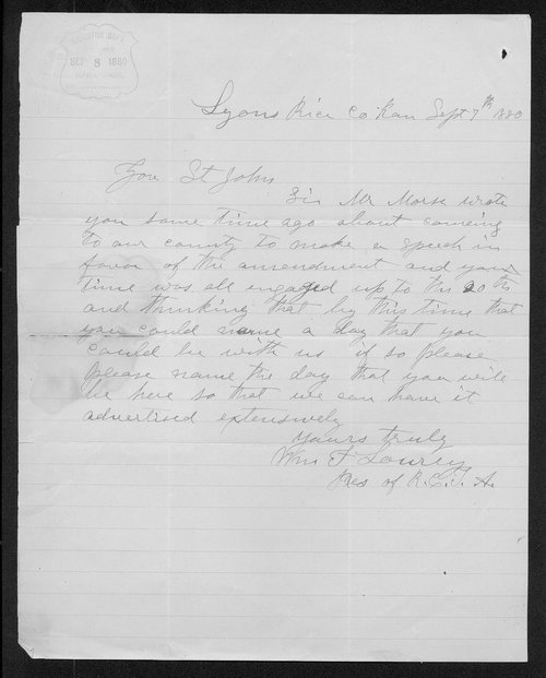 William F. Lourey to Governor John St. John - Page