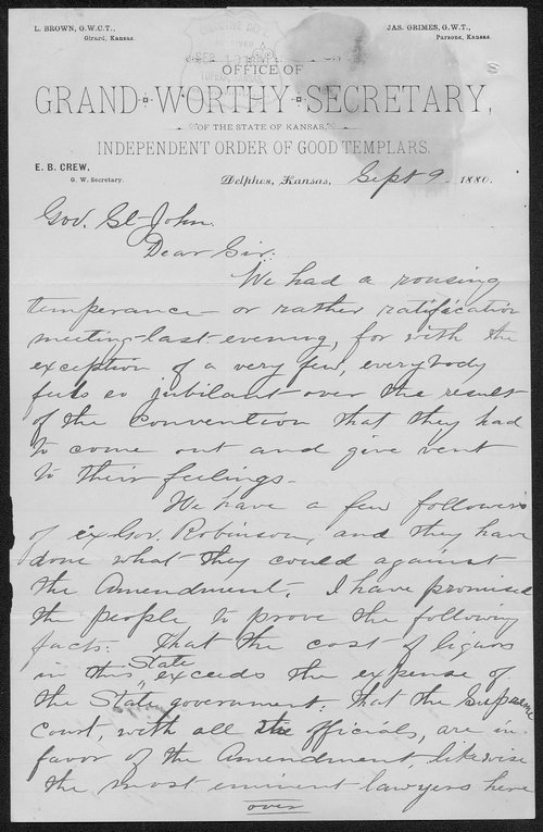 E. B. Crew to Governor John St. John - Page