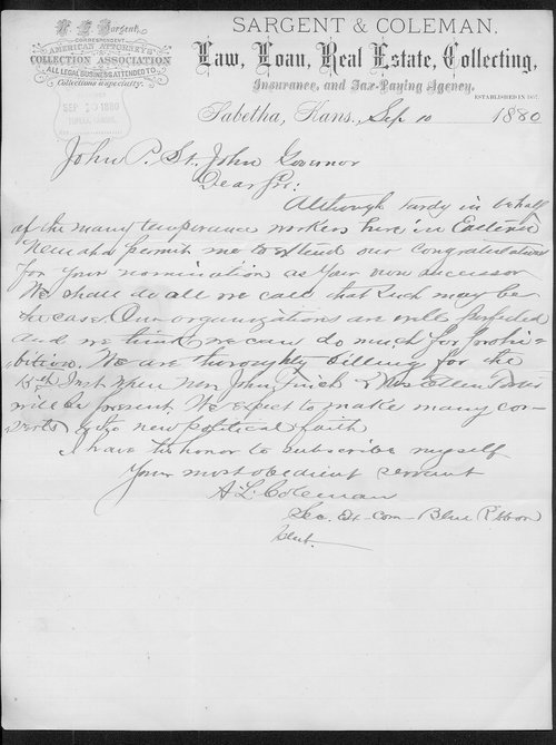 A. L. Coleman to Governor John St. John - Page