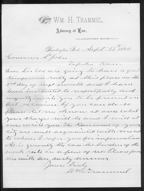 W. H. Trammel to Governor John St. John - Page