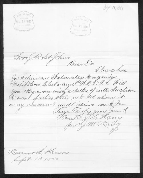 Mrs. G. H. Lang to Governor John St. John - Page