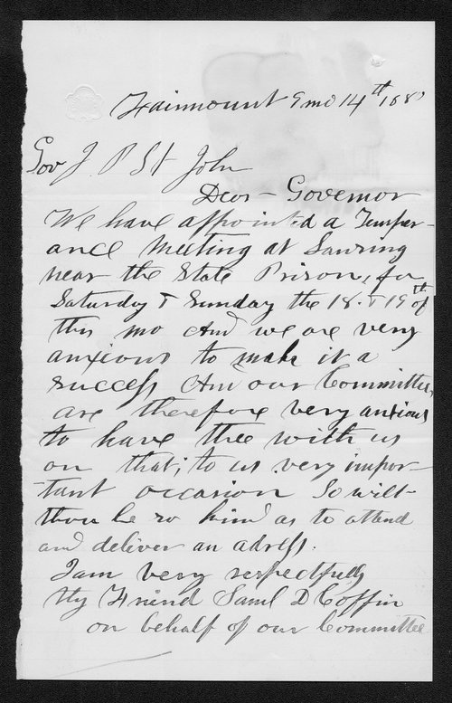 Samuel D. Coffin to Governor Jonn St. John - Page