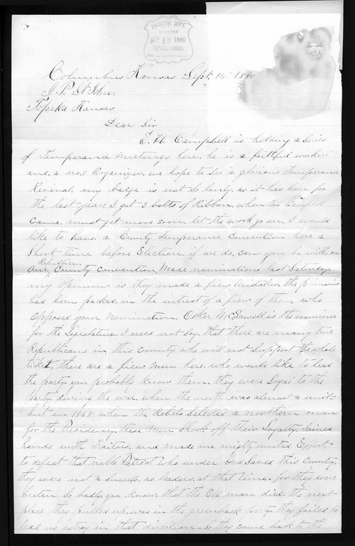 Miles Brown to Governor John St. John - Page