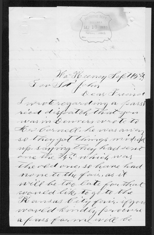 Annie Boice to Governor John St. John - Page