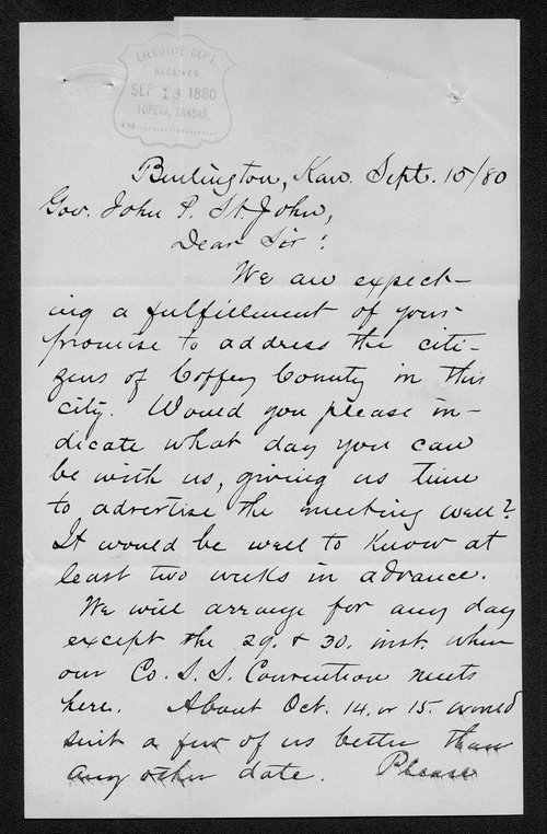 Rev. A. J. Ralston to Governor John St. John - Page