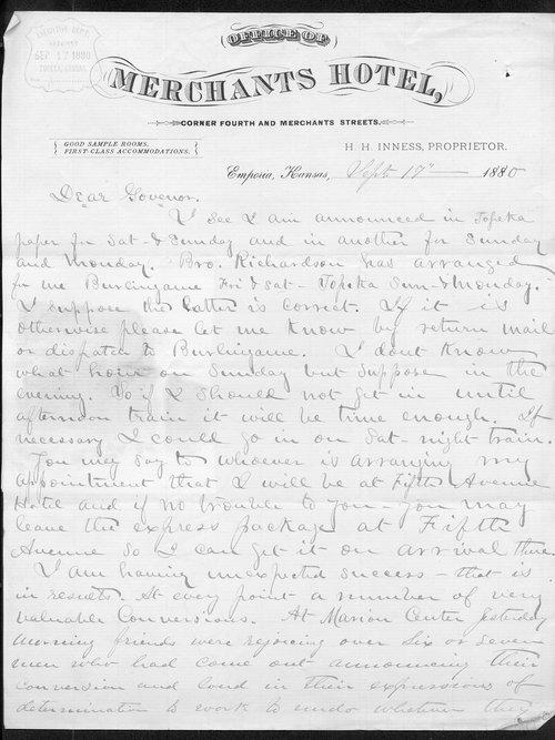 G. N. Bain to Governor John St.  John - Page