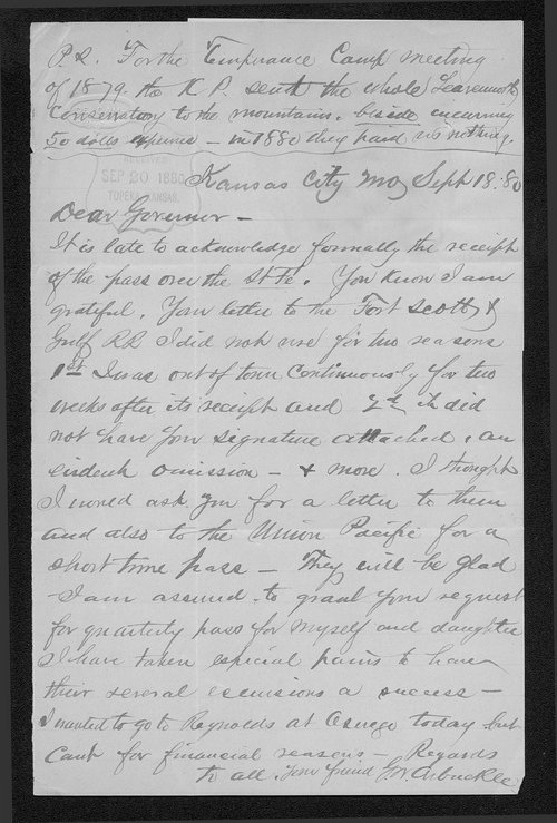 G. W. Arbuckle to Governor John St. John - Page