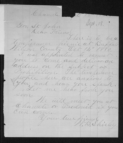 W. B. Shirley to Governor John St. John - Page
